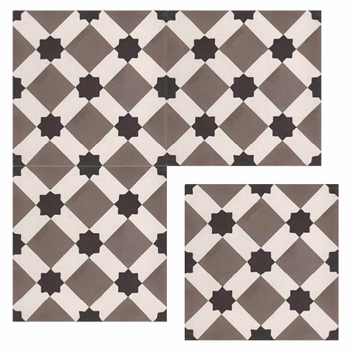 Livny carreaux de ciment 20 x 20 gris carra france - Carreau ciment noir et blanc ...