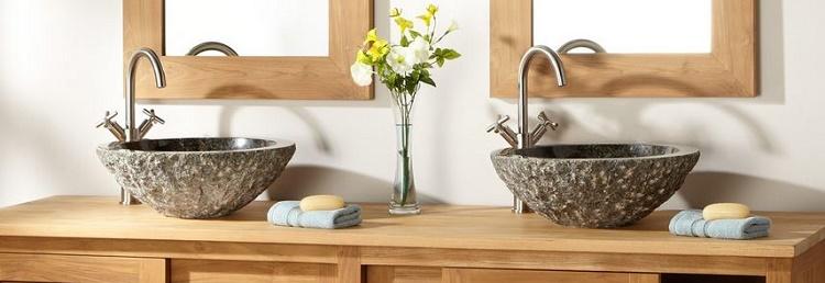 Salle de bains vasques poser receveur de douche en pierre naturelle ca - Poser une vasque salle de bain ...