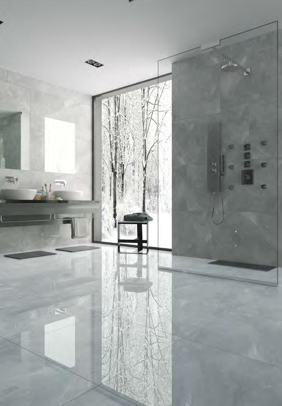 Pulpis carrelage sol et mur 30x60 gris effet marbre - Carrelage noir brillant salle de bain ...