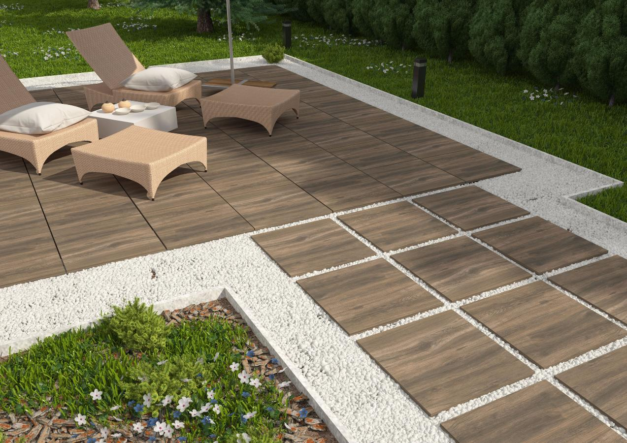 Dalle terrasse sur plot imitation bois for Carrelage exterieur gedimat