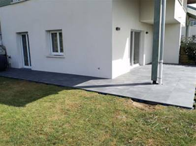 Dalle luna carrelage ext rieur 2 cm anthracite effet for Pose carrelage exterieur sur gravier