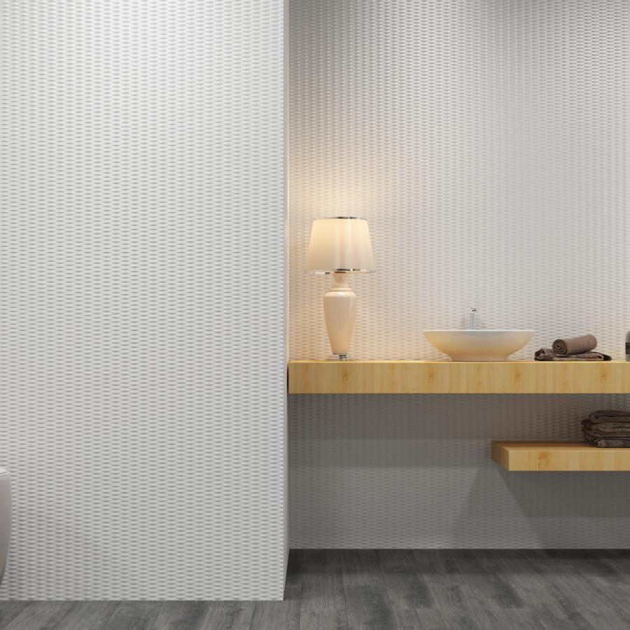 Emily Faience Mur Blanc Brillant Structure