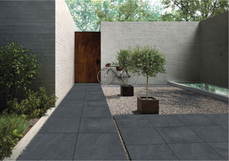 Dalle soul carrelage ext rieur 2 cm anthracite effet for Pierre collee exterieur